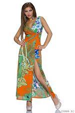 *♥*Maxikleid Strand-Kleid Lange Abend Kleid Sommer Gr.36/38 Multicolor- Orange
