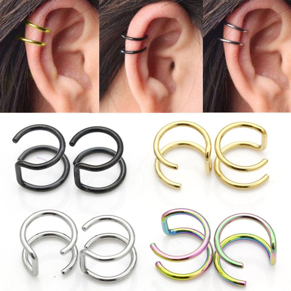 steel clip on closure ring double hoop earrings cartilage. Black Bedroom Furniture Sets. Home Design Ideas