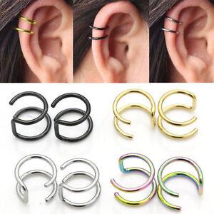 Steel Clip On Closure Ring Double Hoop Earrings Cartilage Ear Cuff