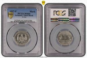 3. Rich 1 Mark 1937 F PCGS MS64 Fresh Mint Condition