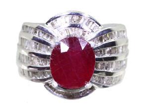 4-30ctct-Rubi-Y-Diamante-Anillo-en-14k-ORO-BLANCO