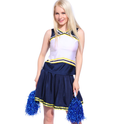 Ladies Girls Blank Printed Cheerleader Uniform Cheerleading Costume DIY Outfit