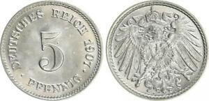 5 Pfennig 1907 J Germany/Empire St, Mint State (7)