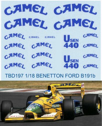 1//18 BENETTON FORD SPONSOR B191B 1992 DECALS TB DECAL TBD197