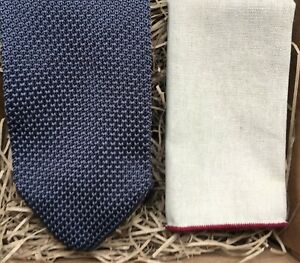 22f3bf7c37895 Details about Grey Knitted Necktie and Cream Linen Pocket Square Set /  Wedding Ties/ UK