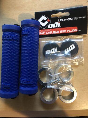 ODI RUFFIAN chrome LOCK-ON FLANGELESS blue BMX-MTB BICYCLE GRIPS