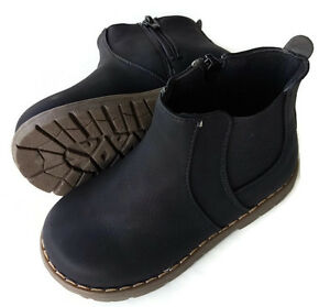 New-Kids-Boots-zip-up-black-appx-2-6yr-child-toddler-boy-girl-shoes-leather
