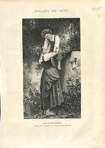 PEINTRE-William-Bouguereau-VOLEUSES-VOL-FRUITS-PETITES-MARAUDEUSES-1873-GRAVURE