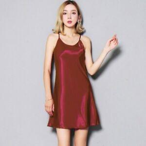 grandi affari sulla moda in vendita sito autorizzato Dettagli su DONNA SATIN FINTA SETA SOTTOVESTE bretelle sottili canotta  camicia da notte