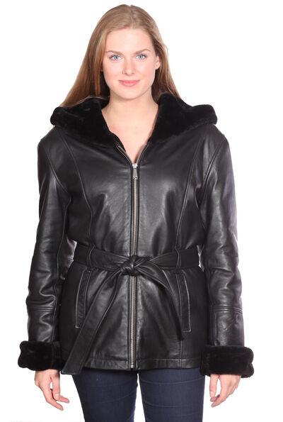 Para mujeres Cuero Parka  Geniune mantequilla suave piel totalmente forrado con capucha Suave Nuevo  ahorrar en el despacho