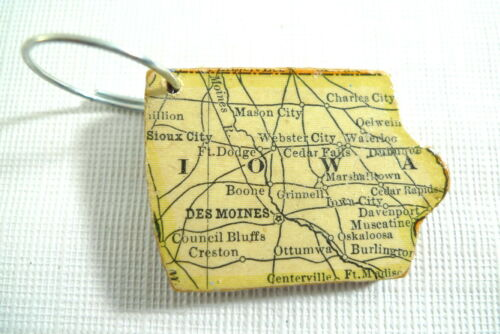 Vintage USA State Shape WOOD PUZZLE PIECE w// Ring Bag Charm Key Chain YOU CHOOSE