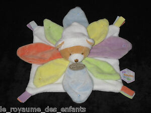 Mon-Doudou-amp-Compagnie-a-moi-carre-Ours-Petales-Nuage-couleur-Arc-en-ciel-blanc