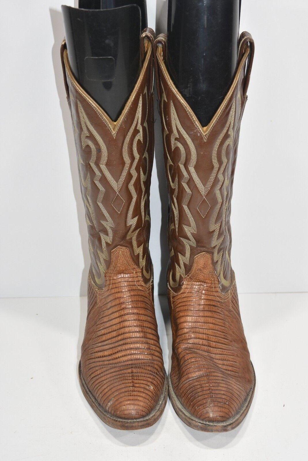 Tony Lama 7.5 B Teju lagarto Marrón Cuero Clásico Clásico Clásico botas de vaquero occidental Ropers f6d510