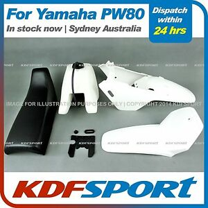 KDF-FOR-YAMAHAX-PW80-PY80-PLASTIC-FENDER-COVER-TANK-WHITE-SEAT-BLACK