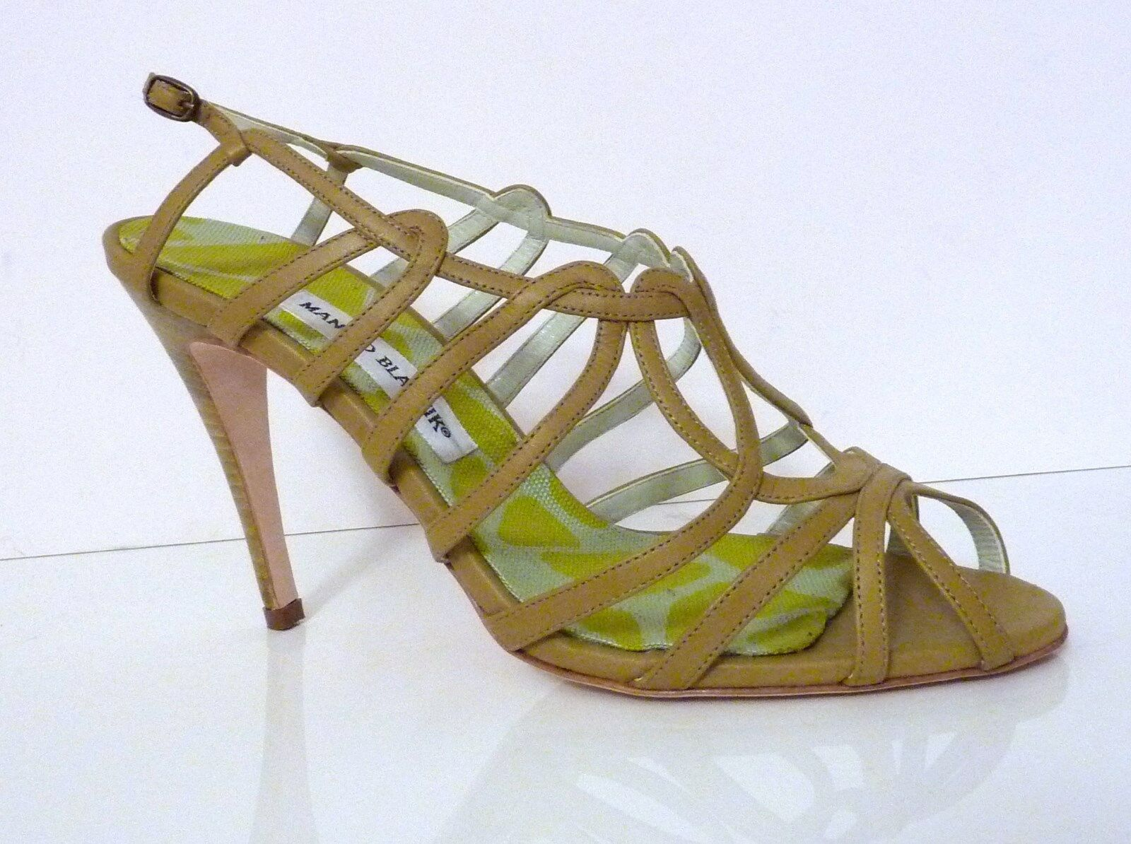 MANOLO BLAHNIK scarpe STRAPPY LIGHT verde LEATHER SANDALS Sz 40.5  Made