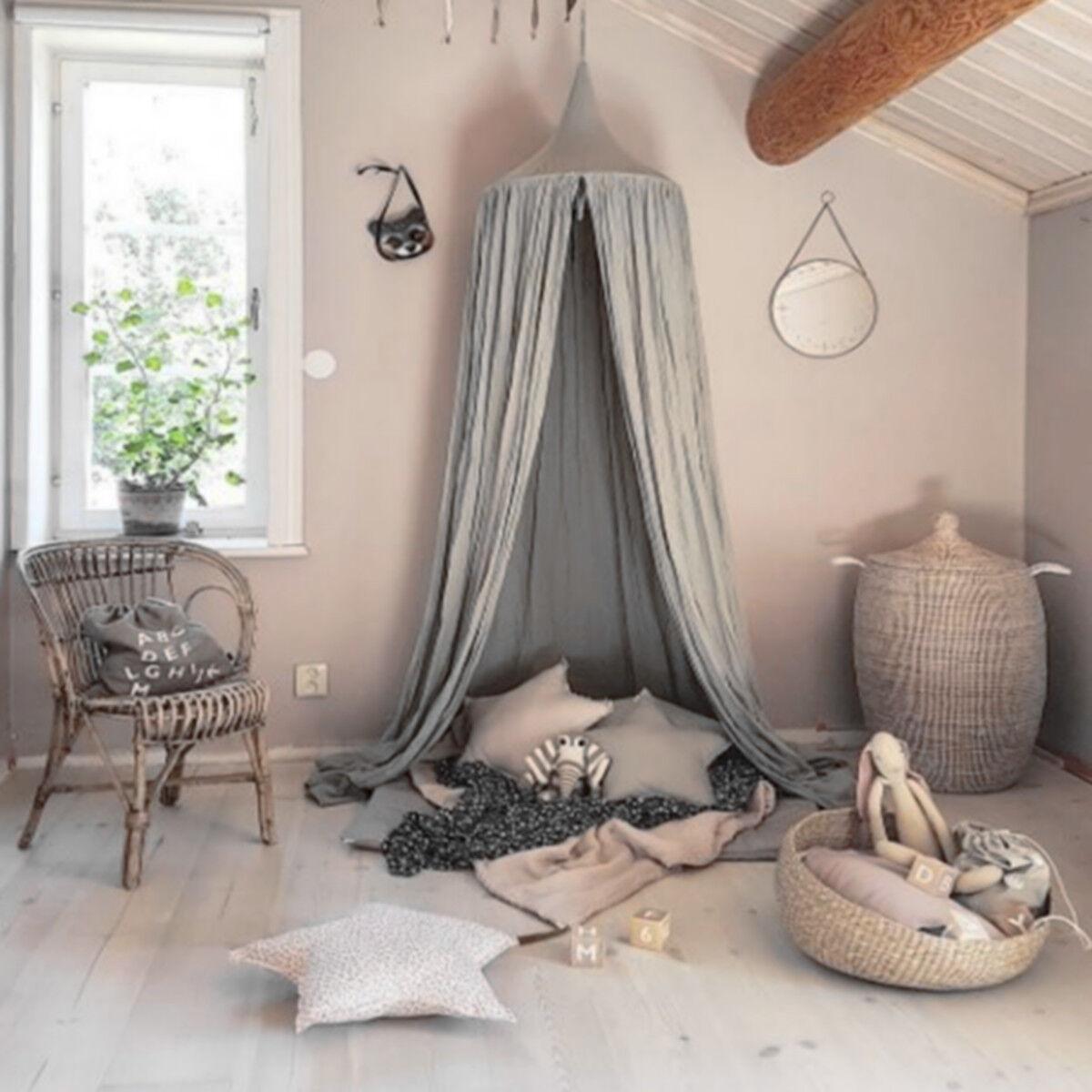 baumwolle betthimmel baldachin moskitonetz rundum nestchen kinder schlafzimmer ebay. Black Bedroom Furniture Sets. Home Design Ideas