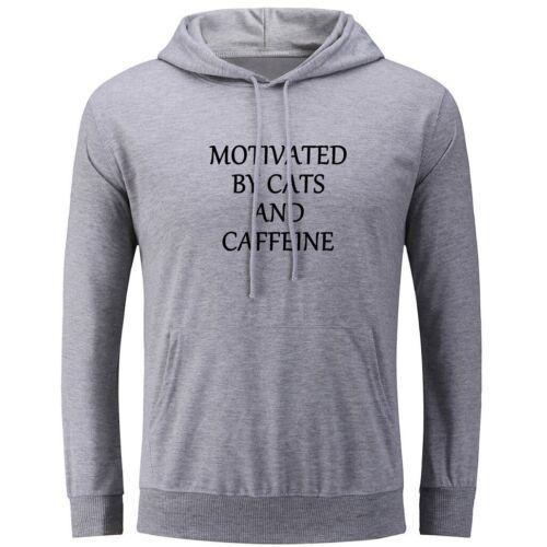 Motivado por gatos y cafeína Impresión Sudadera unisex con capucha Gráfico Con Capucha Top