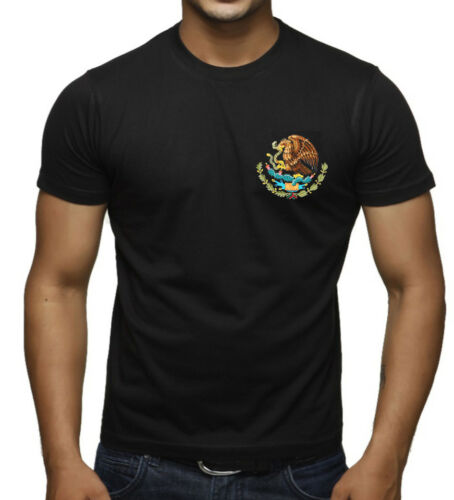 Men/'s Mexico Seal Chest Black T Shirt Mexican Pride Flag Symbol Snake Aztec Tee