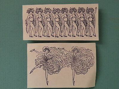 Las Vegas Showgirls Lot of (2) - Unmounted Rubber Stamps