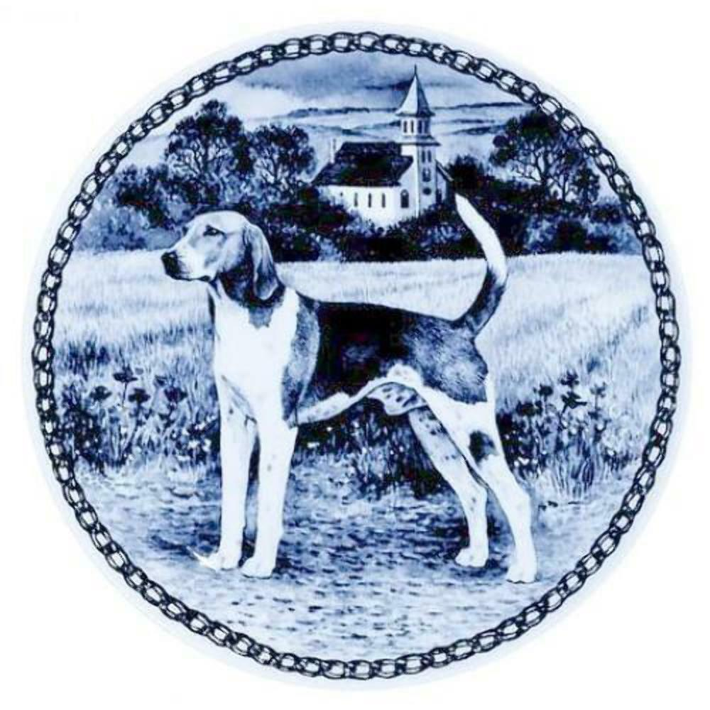 American Foxhound  Dog Plate made in Denmark from the finest European Porcelain
