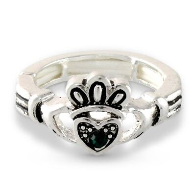 3d8dc2e1697cc NEW Irish Claddagh Celtic Heart Hands Green Crystal Stretch Ring Promise  Lucky | eBay