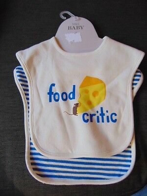 M/&S 2Pk 100/%Cotton /'Food Critic/' Popper Fasten Dribble Bibs 0NE SIZE Multi BNWT