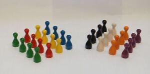 16-POPPEL-HOLZ-Spielfiguren-HALMAKEGEL-in-4-STANDARD-Farben-24-x-12-mm-NEU