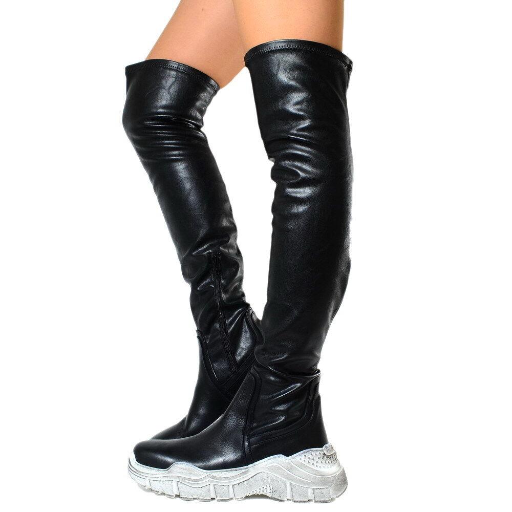 Stivali DA DONNA DONNA DONNA STIVALI VERA PELLE LUXURY sopra il ginocchio Made in Italy Stivali nfiorella 3266d4