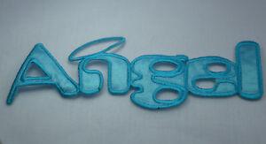 Angel and halo aqua blue 16cm embroidered sew iron on