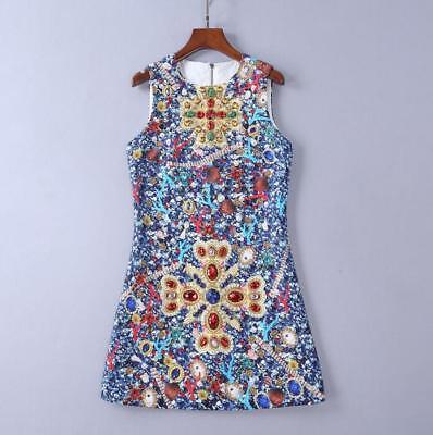 Party style runway Crew neck Sleeveless Pearl Stone Print Zipper Sling Dress