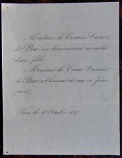 FAIRE PART NAISSANCE COMTESSE CASIMIR DE BRUC 10 OCTOBRE 1856