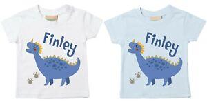 Toddlers Personalised Name Blue Dinosaur T-Shirt