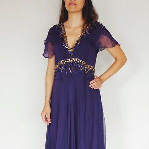 SFX-couture-Purple-Summer-Dress-Midi-Gold-Embroidered-Size-M-L-100-Silk