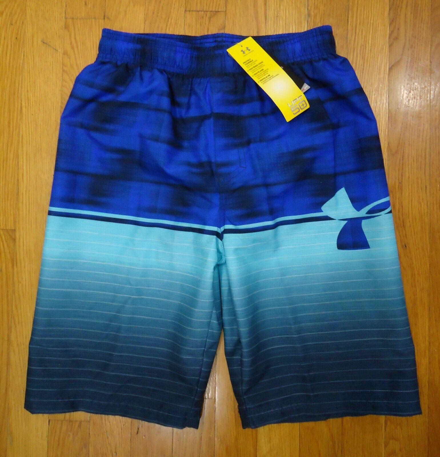 Under Armour Boys/'  HeatGear UPF 50 Swim Trunks Shorts Color Surfs Up Sz 6 Nwt
