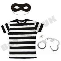 LADIES BURGLAR ROBBER CONVICT PRISONER FANCY DRESS COSTUME COPS & ROBBERS