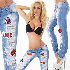 ♥Glamour♥ Sexy Risse Fetzen Patches Jeans Realty Hüftjeans Destroyed 38