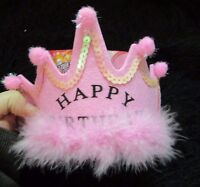 Birthday Crown Pink Fuzzy Sequined Happy Birthday Party Hat 1 Size Celebration