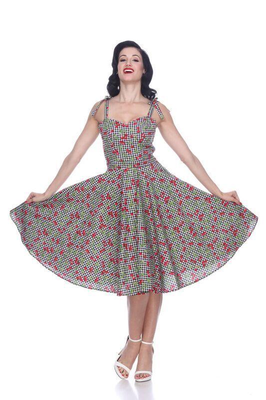 Bettie Page Pinup Sweetheart Albuquerque Swing Dress Grün Cherry Gingham XS-XL