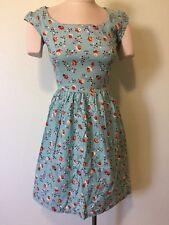 SHABBY APPLE Blue Floral Dress SIZE 6 Runs Small 4 100% Cotton Retro Cap Sleeve