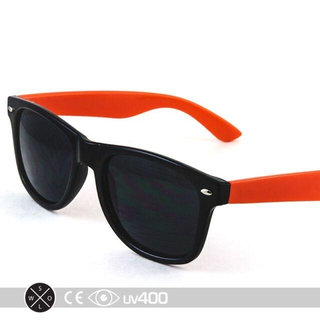 80s Neon Summer Black Frame Orange Arms Party Sunglasses Retro Smoke Lens  S074