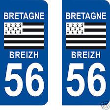 2 STICKERS AUTOCOLLANTS PLAQUE D'IMMATRICULATION DEPARTEMENT 56 Morbihan