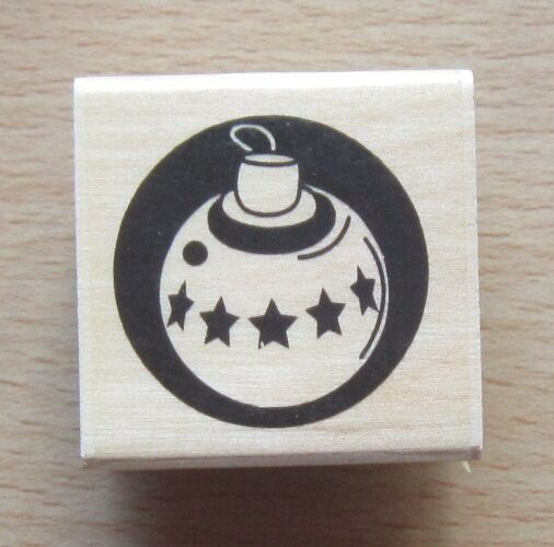 DoCrafts PAPERMANIA Wood Mounted Rubber Stamp BAUBLE ORNAMENT PMA 10014 Christma