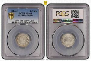 1/2 Mark Silver J.16 1914 J Fresh Mint Condition PCGS Certified PCGS MS64