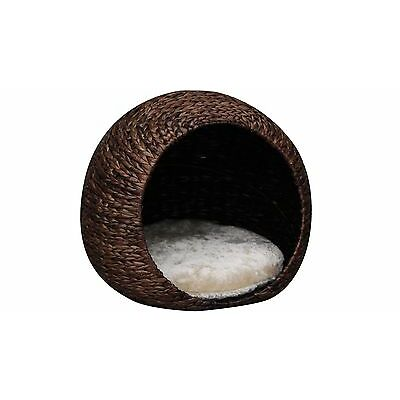 Petpals Cosmo Woven Banana Cave Cat Bed Made from Water Hyacinth with Pillow