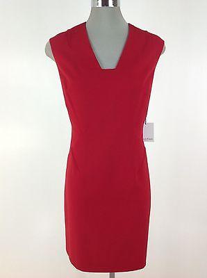 Calvin Klein NEW wT Elegant Cherry Red Fancy V Neck Dress Petite size 6P 10P