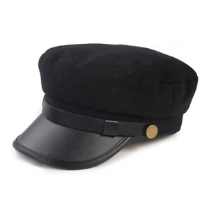 NEW Men Women Army Faux Leather Cadet Military Navy Sailor Flat Top Cotton Hat