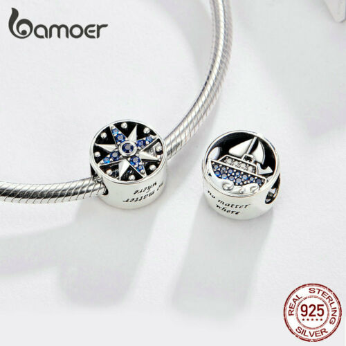 Bamoer Women Do it yourself Bleu Zircone Cubique Charms Bijoux S925 Argent naviguer tours Fit Bracelet
