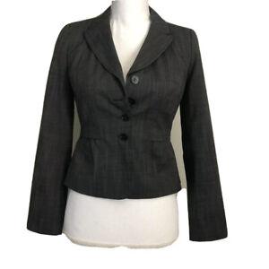 Halogen Womens 0P 0 Petite Gray Blazer Jacket Lined Career Back Ruching #FF69