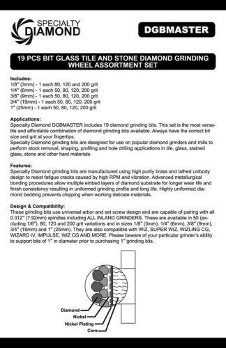 Vitraux meuleuse diamant roue intérieure Wiz Glastar-dgbmaster