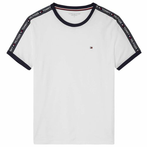 Tommy Hilfiger Logo Tape Crew Neck T-Shirt White